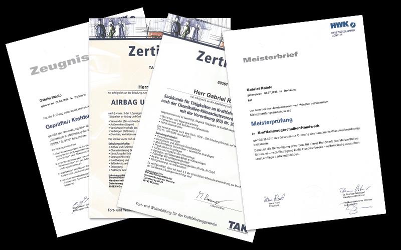 Gabriel Raiolo Zertifikate Bescheinigungen Gutachter Hamburg - Kfz Gutachter Hamburg LP