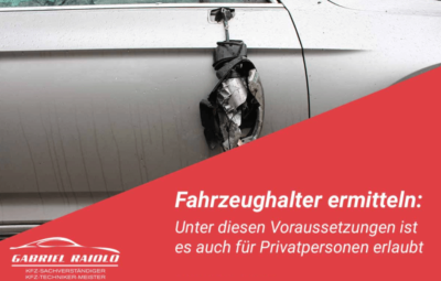 fahrzeughalter ermitteln schaden 400x255 - Restwert nach einem Autounfall ermitteln? Das sollten Sie wissen!