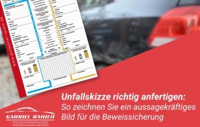 unfallskizze 400x255 - Kfz Gutachten: Grundlage, um nach einem Autounfall den Schaden zu beziffern